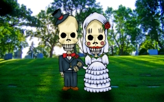 Skull Couple in Grave Yard