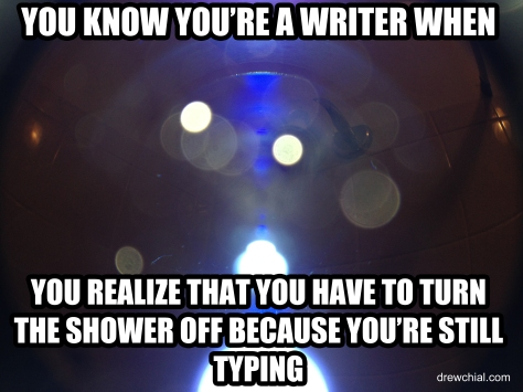 Typing with the shower on