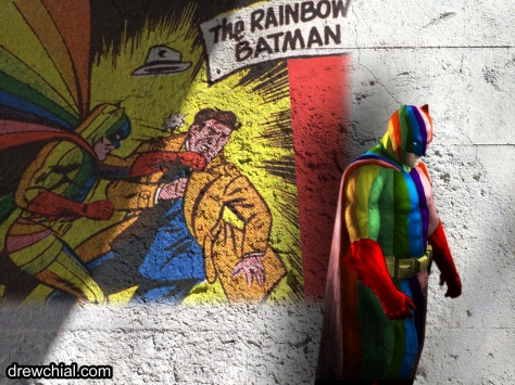 1957's Rainbow Batman finally gets a real life rendition.