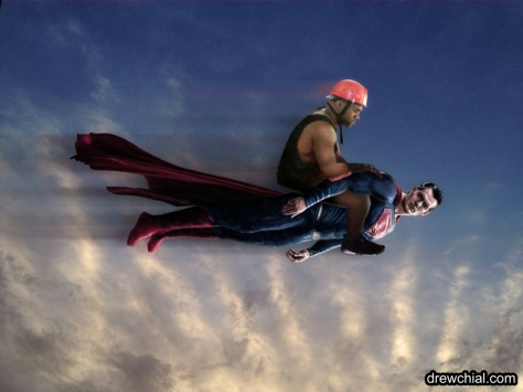 It's hard for Kanye to be sad when Superman's giving him a lift to the studio.