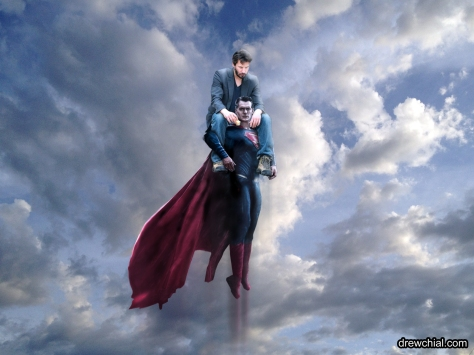 If a ride on Superman's back doesn't cheer Keanu Reeves up, nothing will.