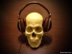 A skull wearing Skullcandy headphones